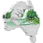 Australian Map Shaped Coin Series: Platypus, Australia, 2013, 1oz