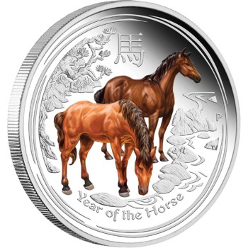Year of the Horse Coloured, Australia, 2014, 1oz