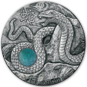 Year of the Snake with Green Aventurine, Fiji, 2013, 1oz