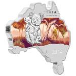 Australian Map Shaped Coin Series: Koala, Australia, 2014, 1oz