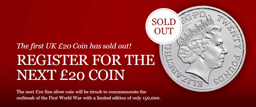 Royal Mint Sold Out of First £20 for £20 Silver Coins, Second Release to Follow