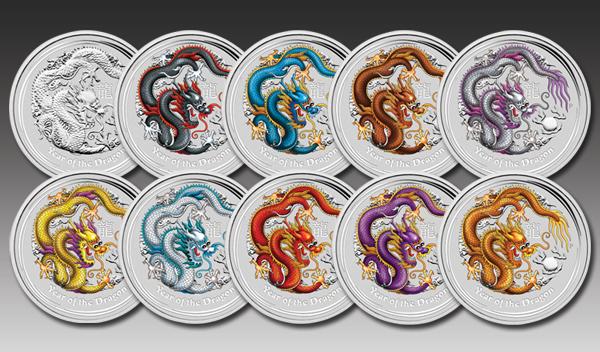 10 coin set dragon coloured