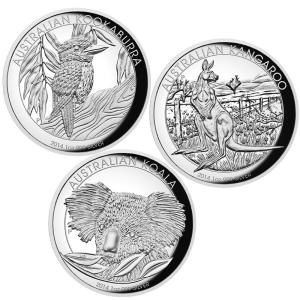 High Relief Silver Proof Three-Coin Collection, Australia, 2015, 1oz x 3