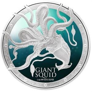 Ocean Predators: Giant Squid, Niue, 2015, 1oz, .999