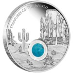 Treasures of the World: North America Locket Coin with Turquoise, Australia, 2015, 1oz, .999