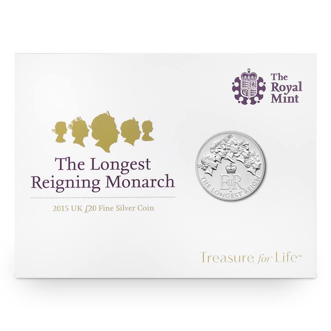 The Longest Reigning Monarch £20 Fine Silver Coin, Great Britain, 2015, 15.71g, .999